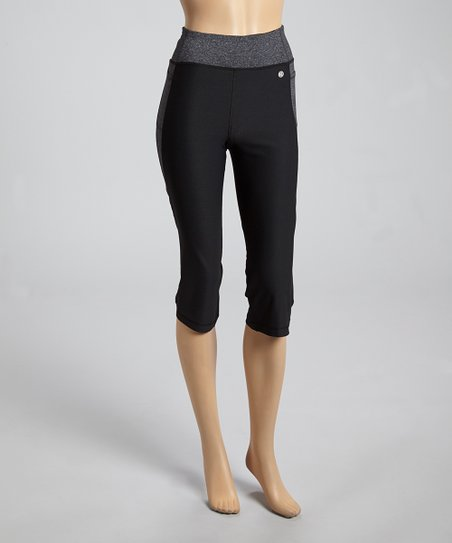 Black & Charcoal Capri Leggings