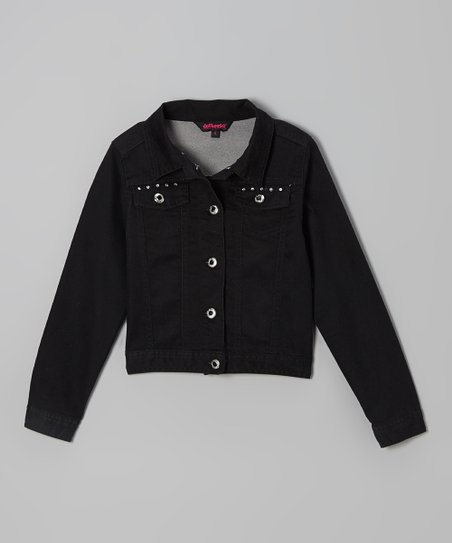 Black Studded Twill Jacket