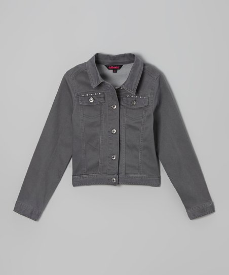Gray Studded Twill Jacket