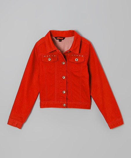 Red Studded Twill Jacket