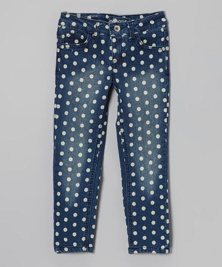 Blue Polka Dot Distressed Skinny Jeans