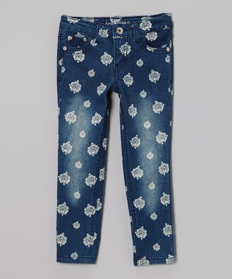 Blue Floral Distressed Skinny Jeans - Girls