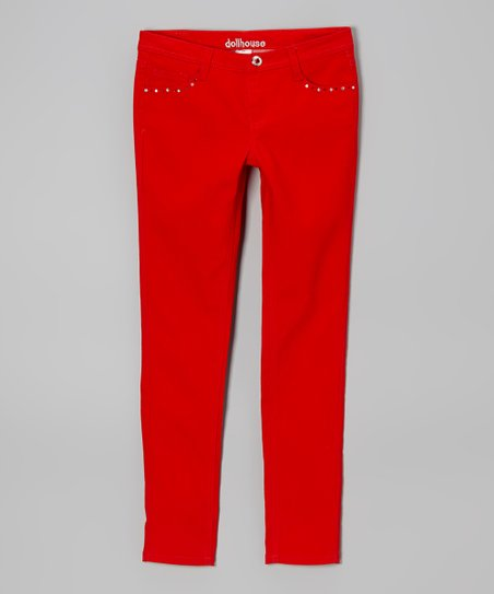 Red Studded Skinny Jeans