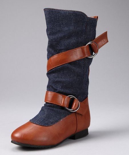 Denim Blue & Tan Boot