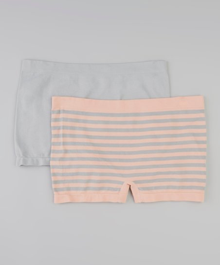 Sweet Apricot Stripe & Gray Skies Seamless Boyshorts Set Women & Plus - Women & Plus