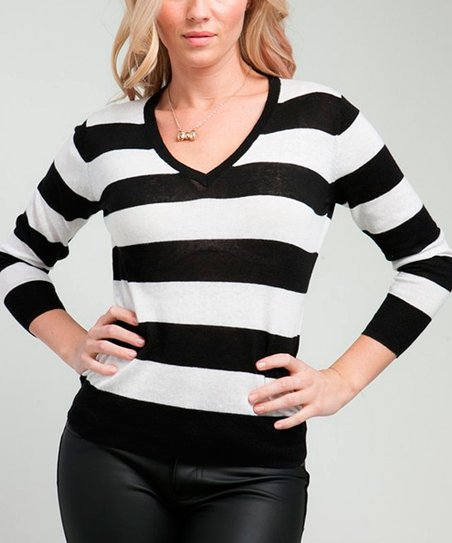 Black Stripe V-Neck Sweater