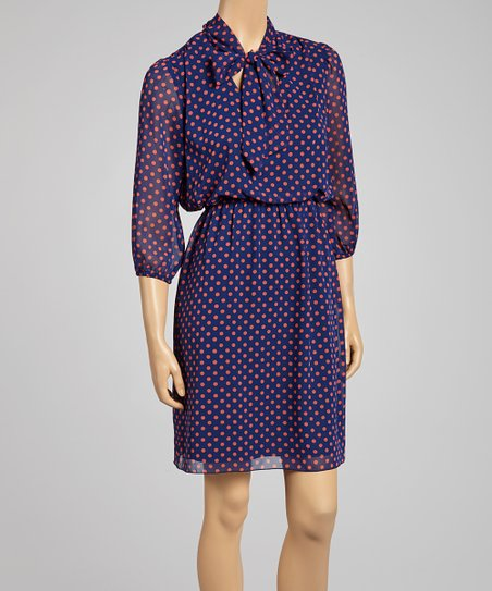 Navy & Coral Tie-Neck Three-Quarter Sleeve Dress