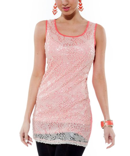 Coral Embellished Sleeveless Tunic