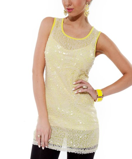 Yellow Green Embellished Sleeveless Tunic