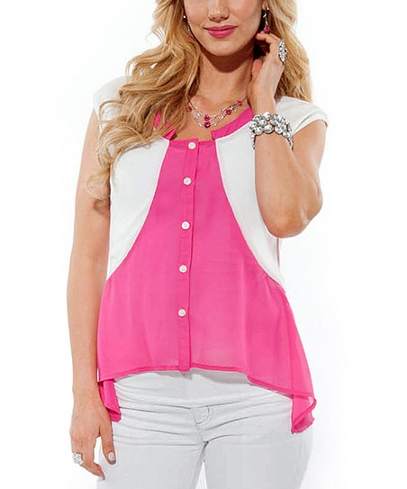 Pink & White Button-Up
