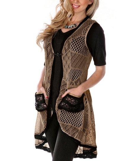 Beige Contrast Pocket Crochet Vest