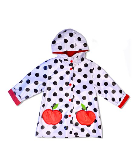 White Polka Dot Apple Raincoat - Toddler & Girls