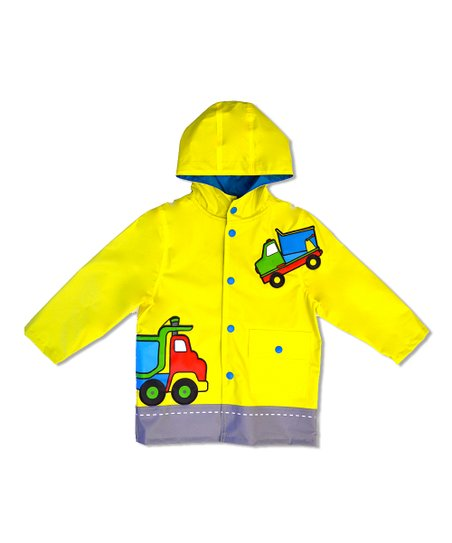 Yellow Dump Truck Raincoat - Boys