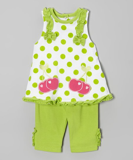 Lime & Pink Polka Dot Cherry Tunic & Pants - Infant