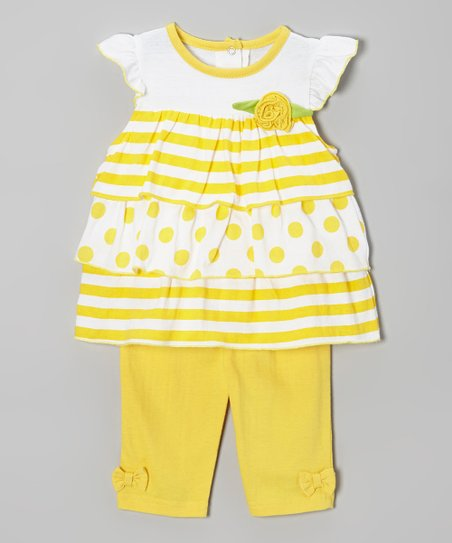 Yellow Polka Dot Flower Tunic & Pants - Infant