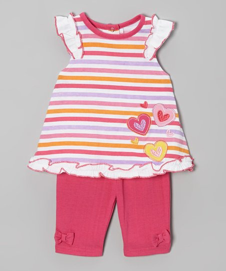 Pink Stripe Heart Tunic & Pants - Infant