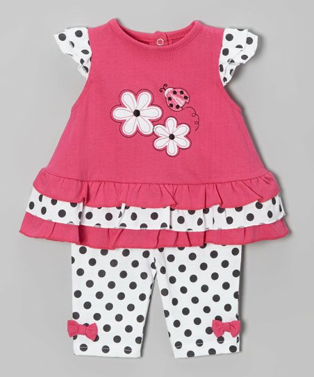 Pink & Black Polka Dot Ladybug Tunic & Pants - Infant