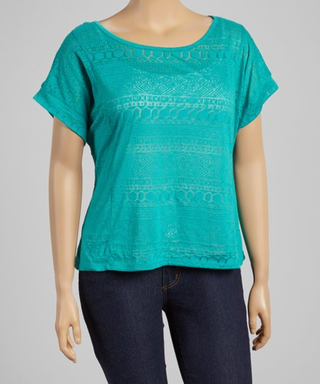 Bali Turquoise Tribal Burnout Scoop Neck Top - Plus