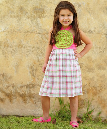 Lime Blooming Rose Plaid Dress - Toddler & Girls