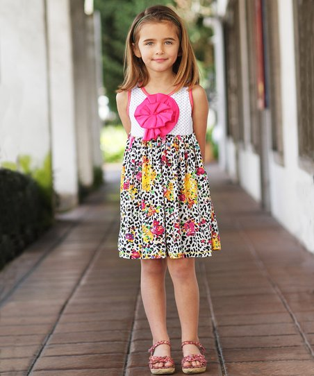 Black & White Cheetah Peony Dress - Toddler & Girls
