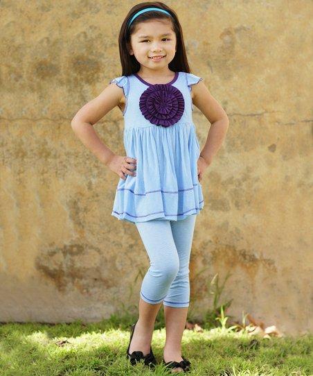 Turquoise Stripe Rosette Tunic & Leggings - Infant & Girls