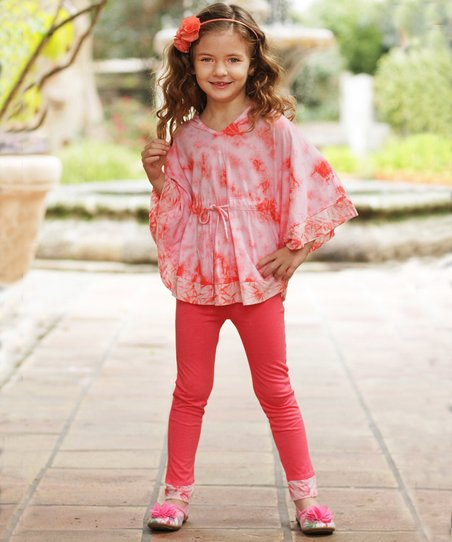 Coral Tie-Dye Cape-Sleeve Tunic & Leggings - Toddler & Girls