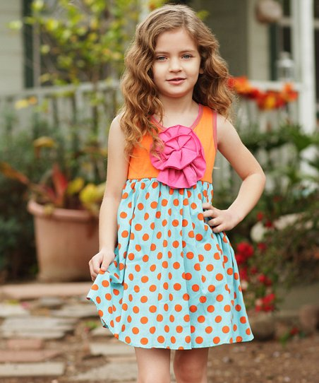 Orange Polka Dot Peony Dress - Girls