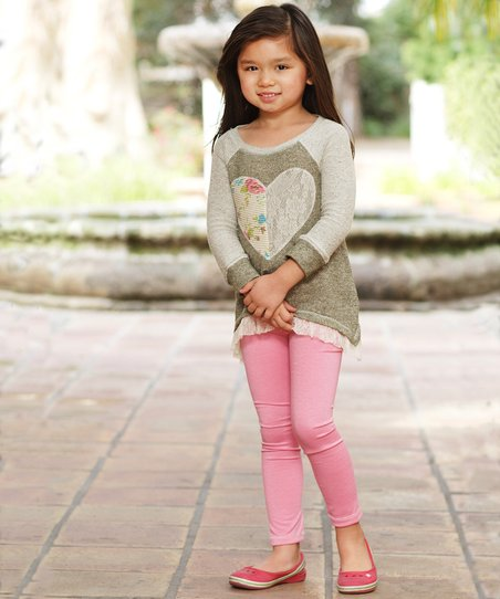 Olive Heart Tunic & Pink Leggings - Toddler & Girls