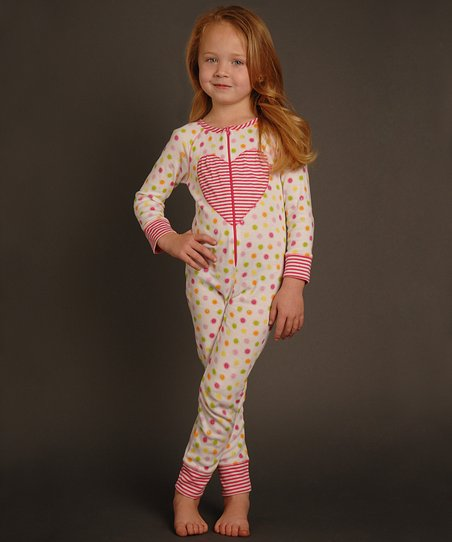 Ivory & Pink Heart Circle Playsuit - Toddler & Girls