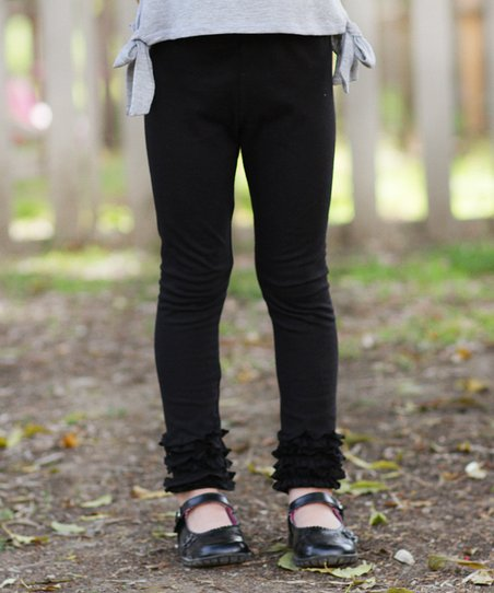 Black Ruffle Leggings - Toddler & Girls