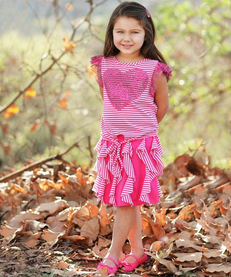 Fuchsia Heart Ruffle Tie Tee & Skirt - Toddler & Girls