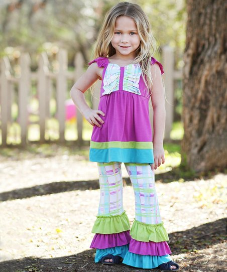 Orchid Plaid Patchwork Ruffle Tunic & Pants - Toddler & Girls