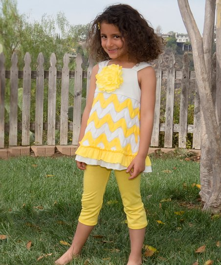 Yellow Zigzag Rosette Ruffle Tunic & Pants - Toddler & Girls