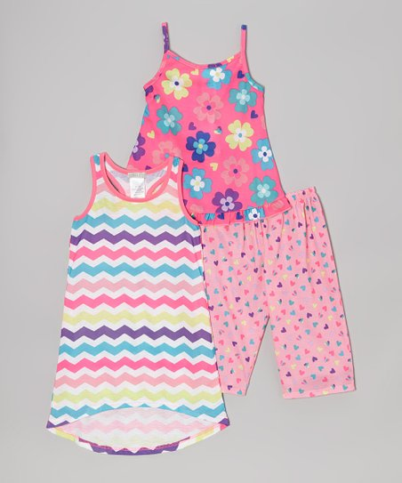 Pink Flowers & Zigzag Pajama Set - Girls