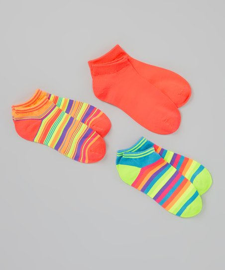 Rainbow & Pink Sport Microfiber Crew Socks Set - Women