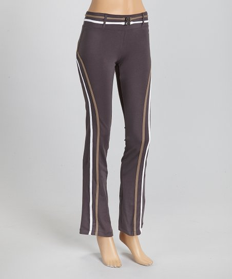 Charcoal & Beige Stripe Pants