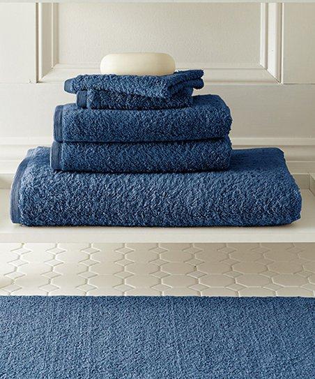 Denim Blue Spa Collection Towel & Mat Set