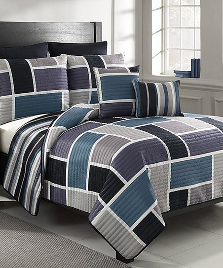 Blue & Purple Morgan Reversible Quilt Set
