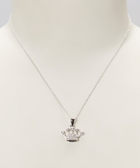 Cubic Zirconia & Sterling Silver Crown Pendant Necklace