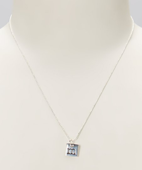 Sterling Silver Square 'M' Pendant Necklace