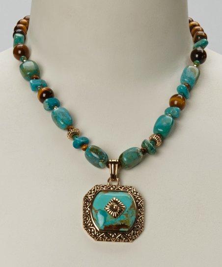 Tiger's-Eye & Bronze Pendant Necklace