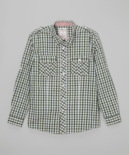 Hunter Green Plaid Button-Up - Boys