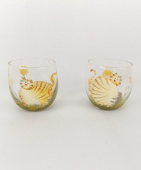 Yellow & Orange Kitty Tealight Candleholder - Set of Two