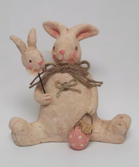 Cream Bunny & Egg Figurine