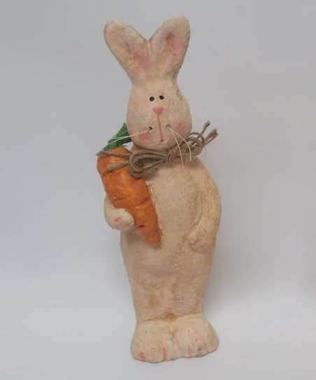 Cream Standing Bunny &amp; Carrot Figurine