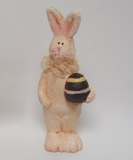 Cream Standing Bunny & Easter Egg Figurine