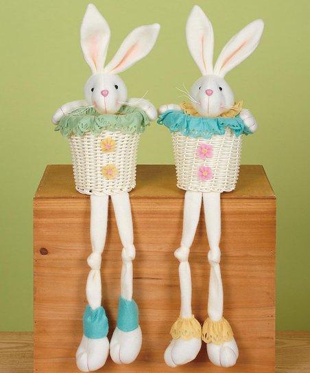 Spring Ruffle Bunny Basket Shelf Sitter Set