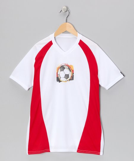 White & Red Soccer Shirt