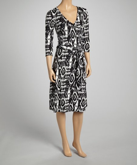 Black & White Ikat Wrap Dress