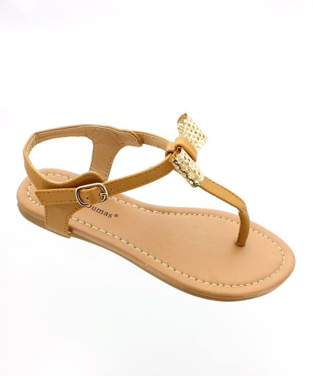 Tan & Gold Bow Sandal